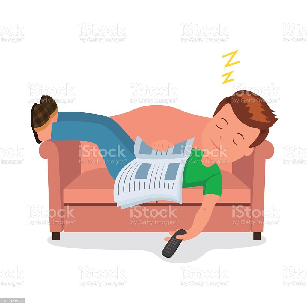 Male fell asleep while reading on a cozy couch. vector art illustration