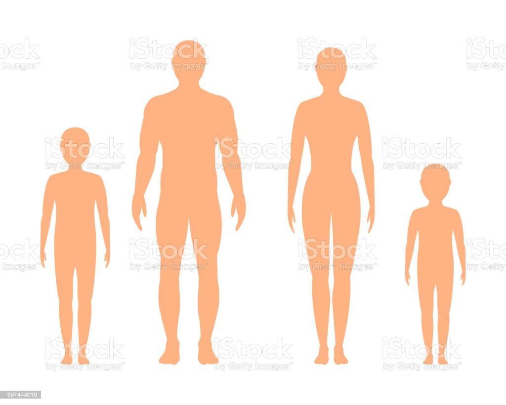 男性、女性、白い背景の上の子供のシルエット ベクトルします。 ロイヤリティフリー男性女性白い背景の上の子供のシルエット ベクトルします - いっぱいになるのベクターアート素材や画像を多数ご用意