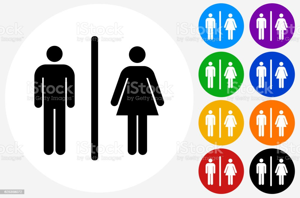 Male Female Bathroom Sign Icon On Flat Color Circle Buttons Royalty Free