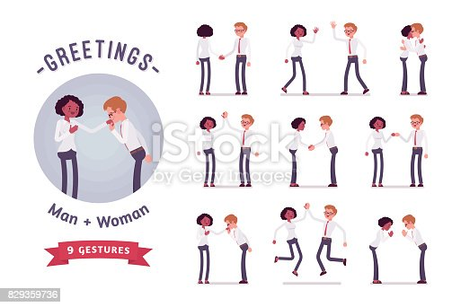Male, female clerks greeting, handshaking, high five. Ready-to-use character set. Various poses, emotions, standing, fist bump, bow, hug. Full length, front, rear view isolated, white background