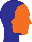 Vector illustration of orange and royal blue male and female faces overlapping.