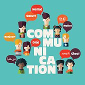 """Male and female people icons with colorful dialog speech bubbles in different languages and the word """"communication"""". Communication, chat, assistance, interpretation and people connection concept"""