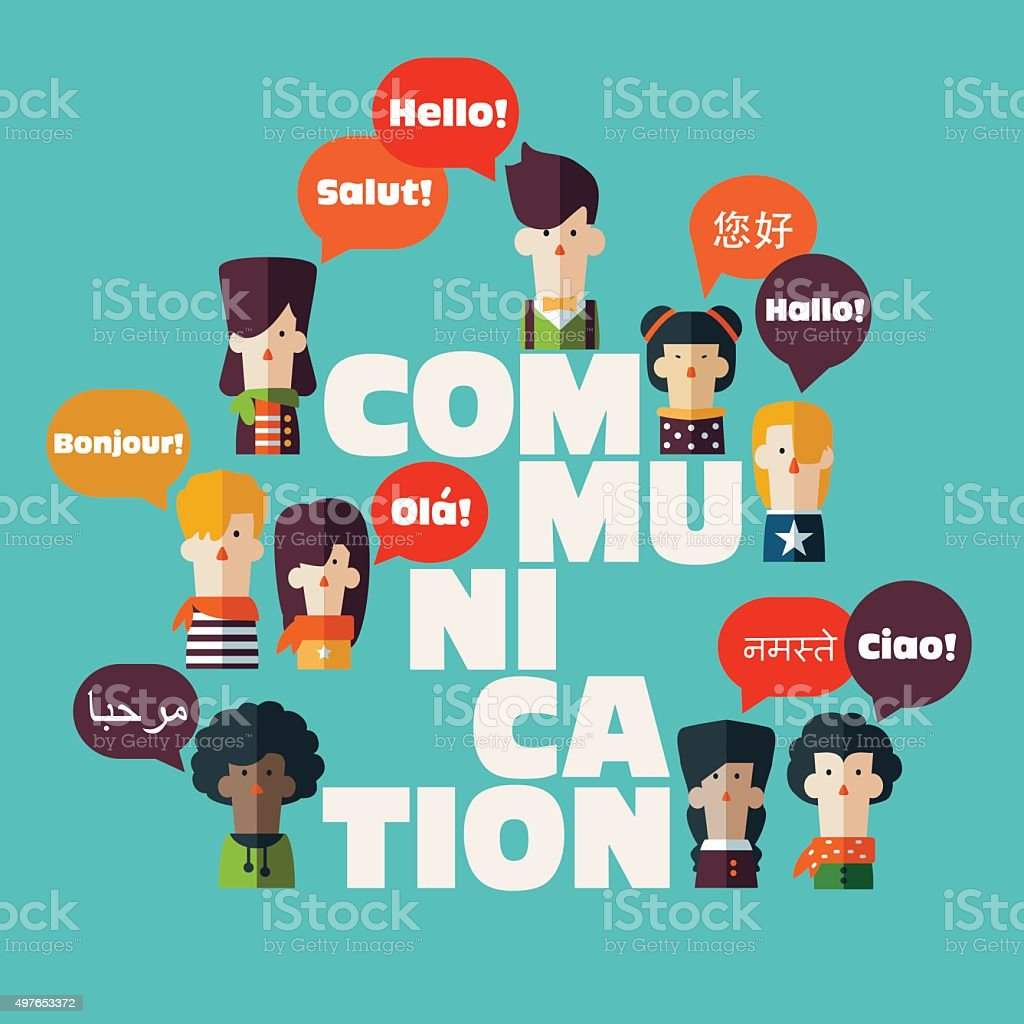 Male, female people icons with speech bubbles in different languages vector art illustration