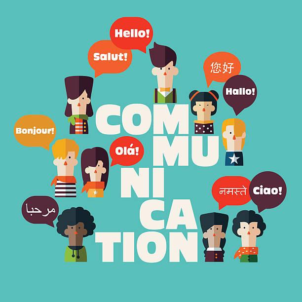 illustrations, cliparts, dessins animés et icônes de homme et femme avec les icônes de bulles discours dans différentes langues. - cours de langue