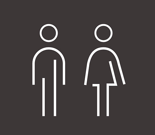 Male female sign Simplified male and female or man and woman sign icons that can be used trial room, washroom, toilet, different male or female area in anywhere or even public place or in a shopping mall.  bathroom symbols stock illustrations