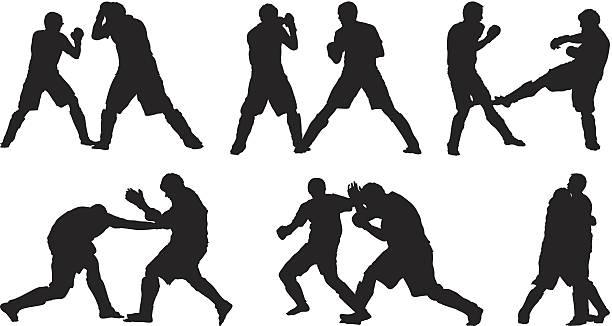stockillustraties, clipart, cartoons en iconen met male fighters kickboxing - mma