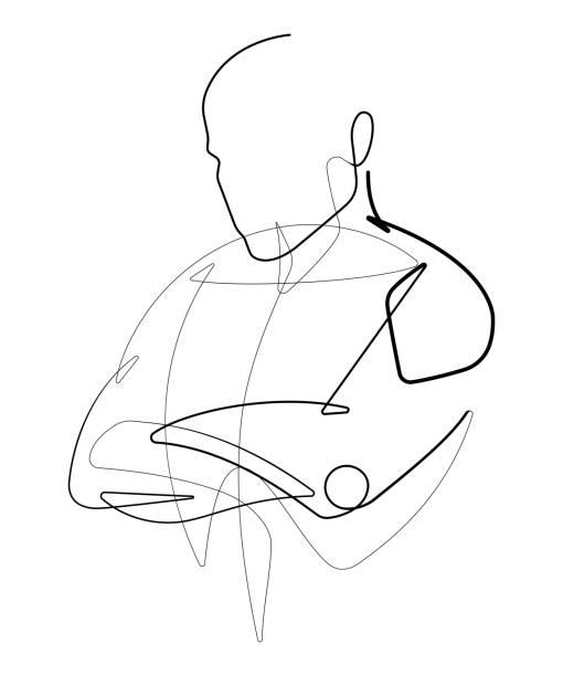 ilustrações de stock, clip art, desenhos animados e ícones de male figure with arms crossed one continuous line vector graphic - da cintura para cima