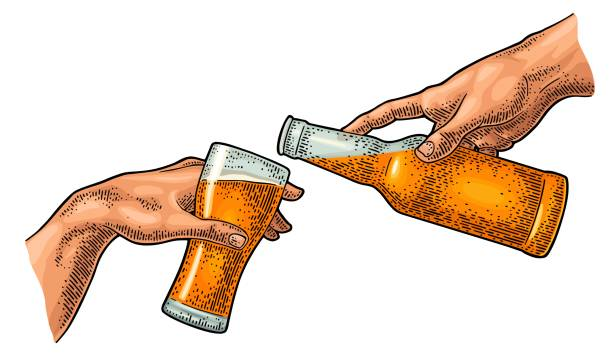 Male finger pouring beer from bottle into glass. The Creation of Adam. Male hand pouring beer from a bottle into a glass. Section fresco The Creation of Adam. Vector color vintage engraving illustration isolated on a white background. For web, poster name of person stock illustrations