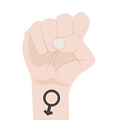 Male Fist Raised Up isolated on white background. Man Power. Symbol of Unity, Revolution, Protest, Cooperation and Solidarity. Vector Illustration.