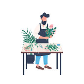 Male florist flat color vector faceless character