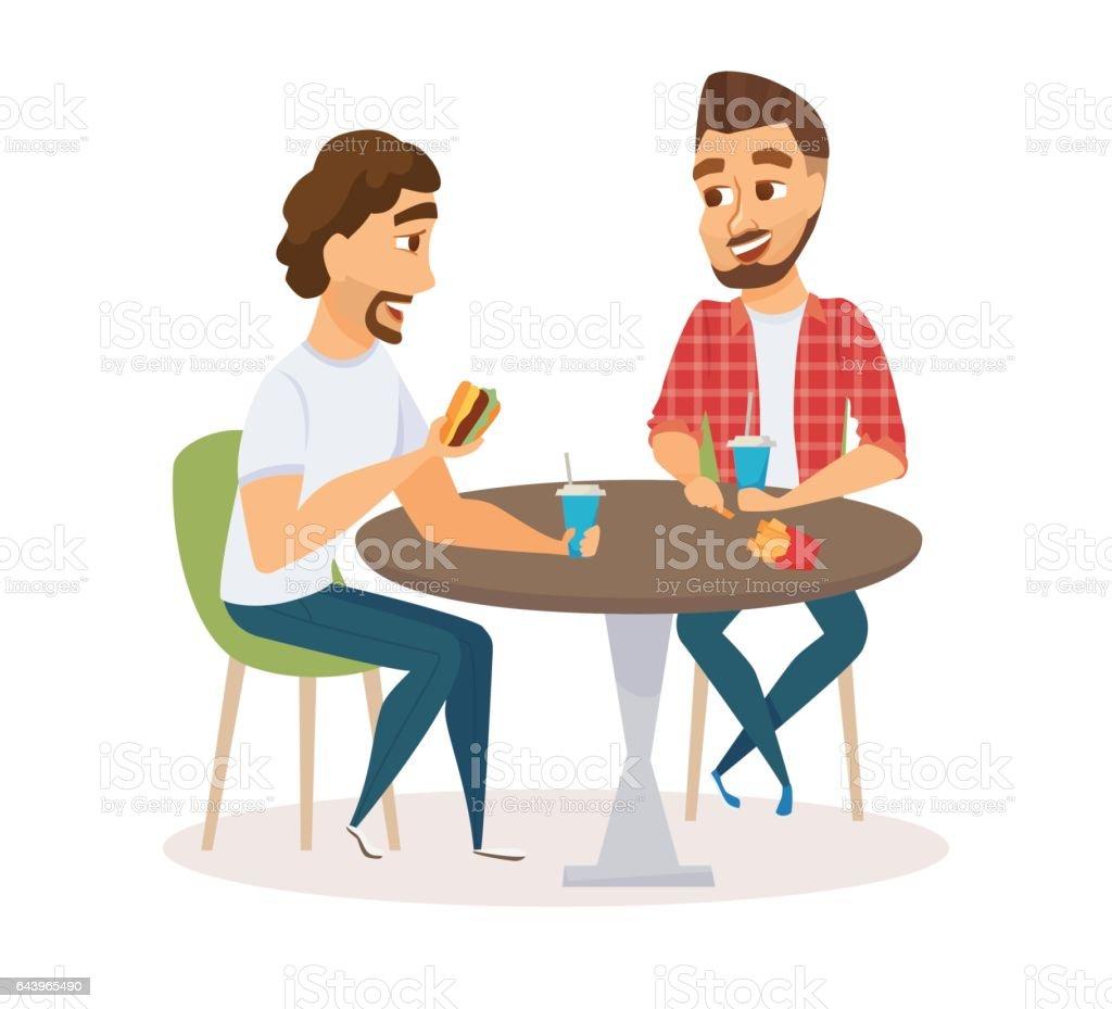 Male friends eating vector art illustration