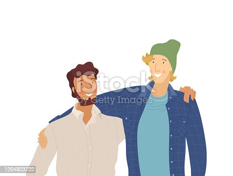 istock Male friends, smiling guys flat vector illustration 1204923722