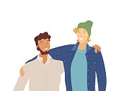 Male friends, smiling guys flat vector illustration