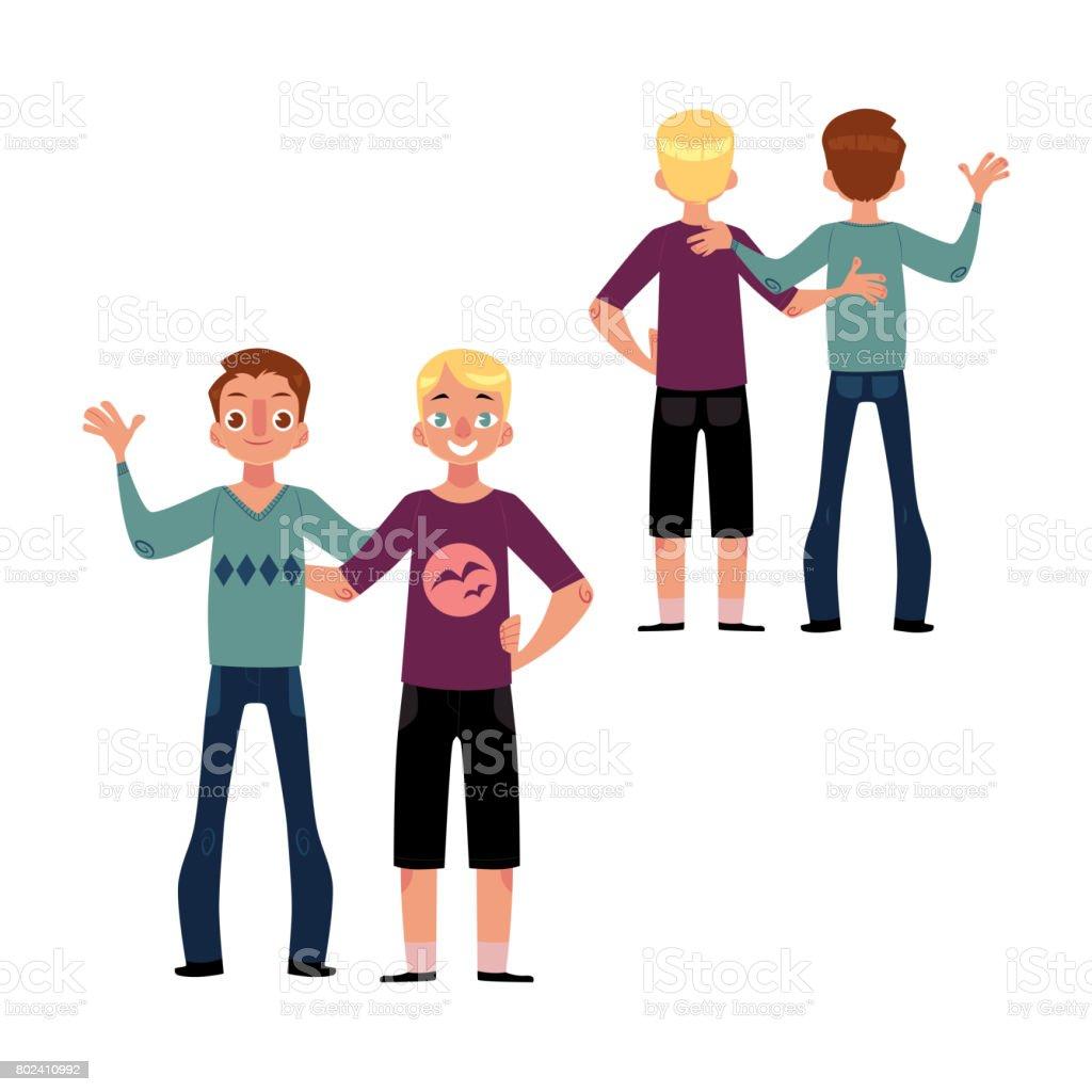 男同士の友情の概念お互いをハグの友人男の子のカップル のイラスト