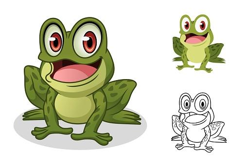 Male Frog Cartoon Character Mascot Design
