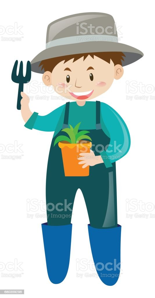 Male gardener with potted plant royalty-free male gardener with potted plant stock vector art & more images of adult