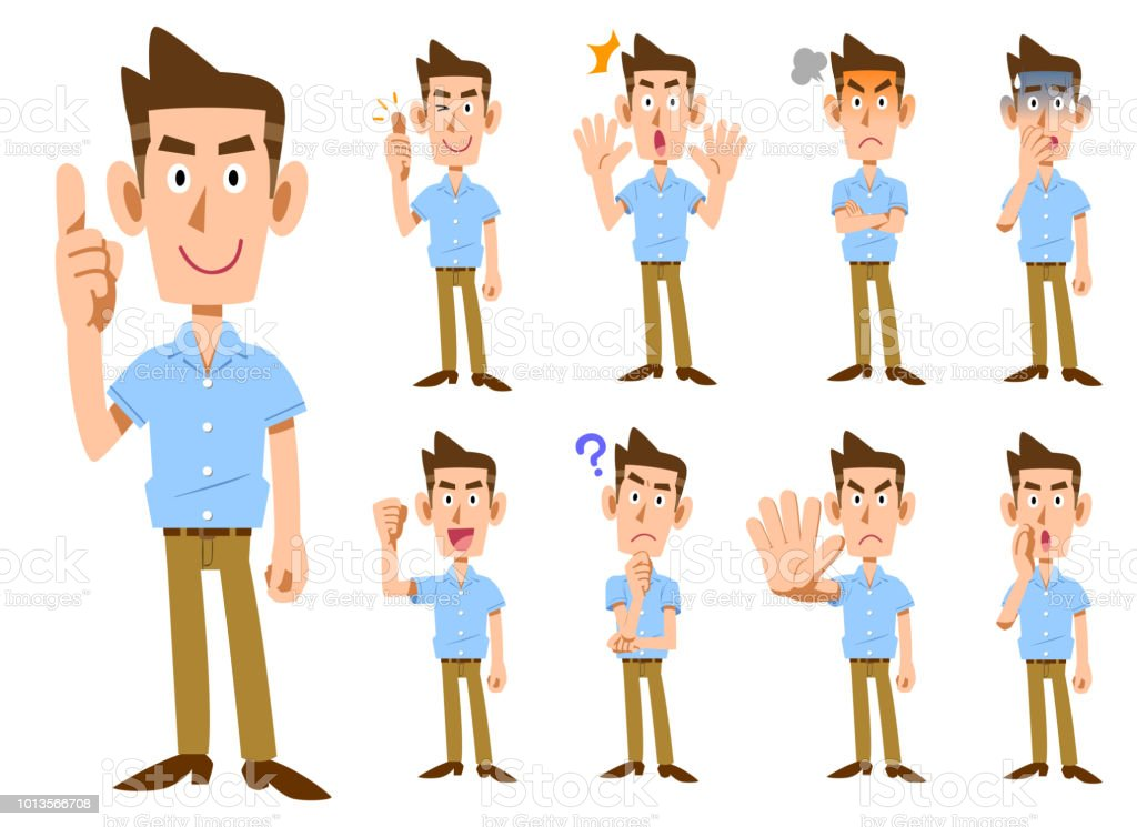 Male gesture and facial expressions wearing short sleeve shirt _ 9 types