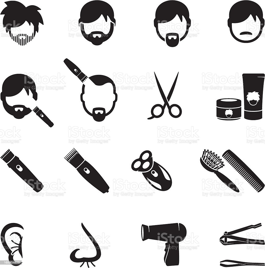 Male Grooming Icons vector art illustration