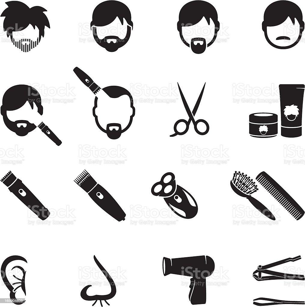 Ícones de beleza para homens - ilustração de arte em vetor