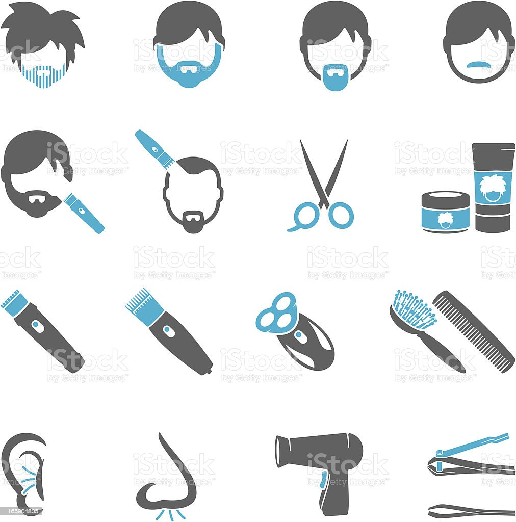 Male Grooming Icons royalty-free stock vector art