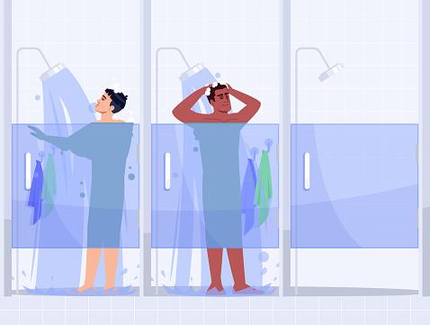 Male gym shower semi flat vector illustration