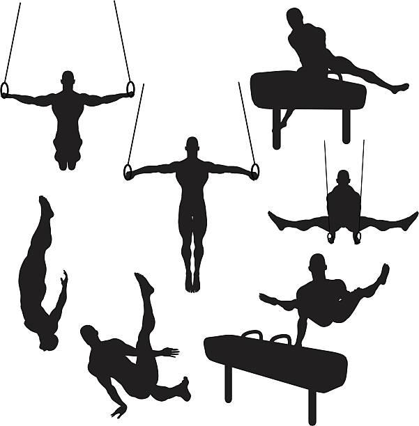 雄体操シルエットコレクション(ベクトルラスタ - 体操競技点のイラスト素材/クリップアート素材/マンガ素材/アイコン素材