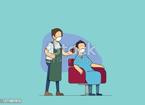 istock Male hairdresser and client at a hair salon, discussing and cutting hair. Adjusting to the new normal and social distancing norms, wearing mask at work. 1271887873
