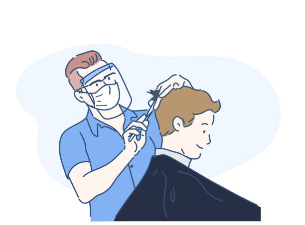 ilustrações de stock, clip art, desenhos animados e ícones de a male hairdresser wearing face shield and haircut client, making haircut using metal scissors and comb. new normal concept. hand drawn in thin line style, vector illustration. - covid hair