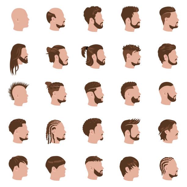 männliche frisuren farbe vektor-icons - brotzopf stock-grafiken, -clipart, -cartoons und -symbole