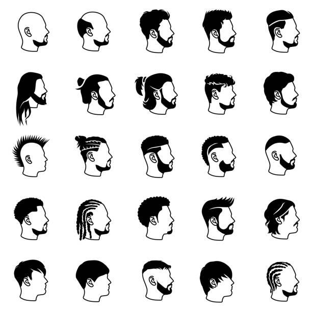 männliche frisuren vektor-icons - brotzopf stock-grafiken, -clipart, -cartoons und -symbole
