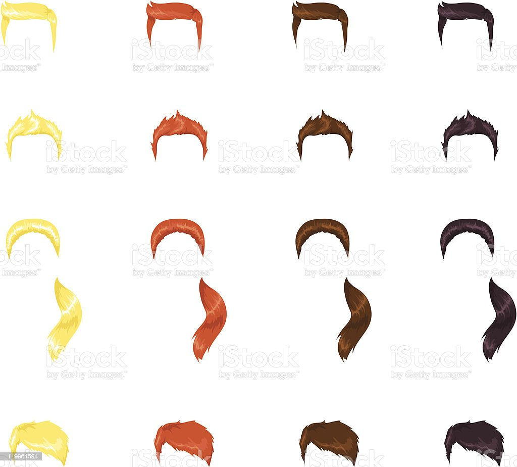 Male hairstyles vector art illustration