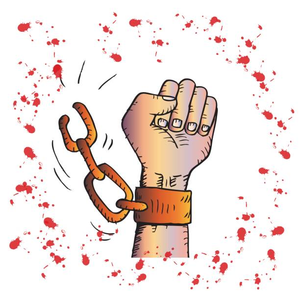 Male Hand Breaking Steel Handcuffs Sketchy Style Vector Art Illustration