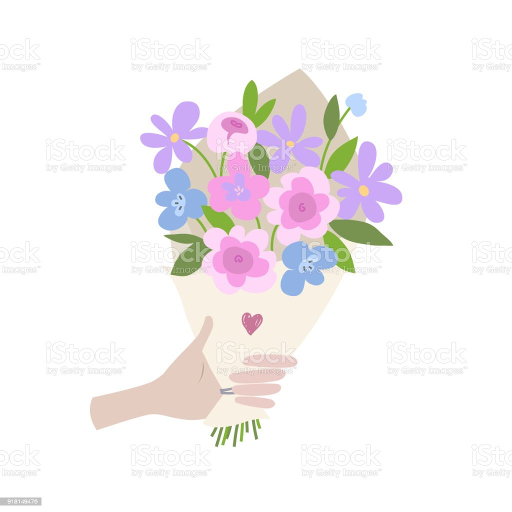 A male hand gives spring bouquet of flowers valentines day wedding a male hand gives spring bouquet of flowers valentines day wedding bouquet flowers izmirmasajfo