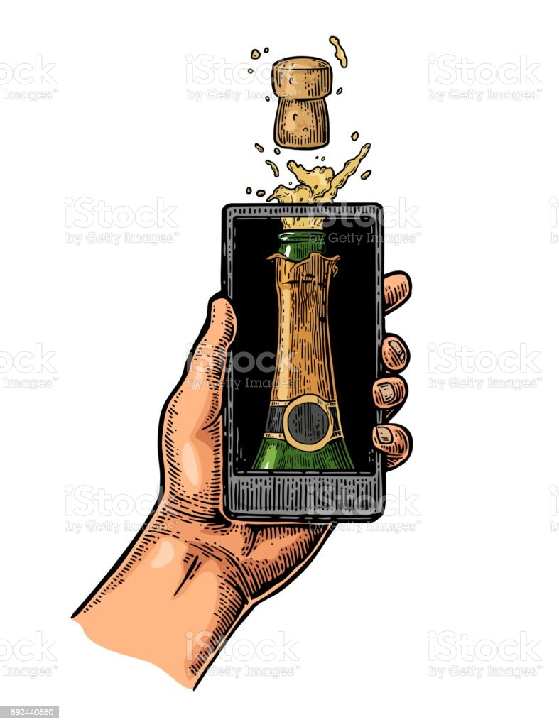 Male hand hold smartphone with bottle of champagne explosion vector art illustration
