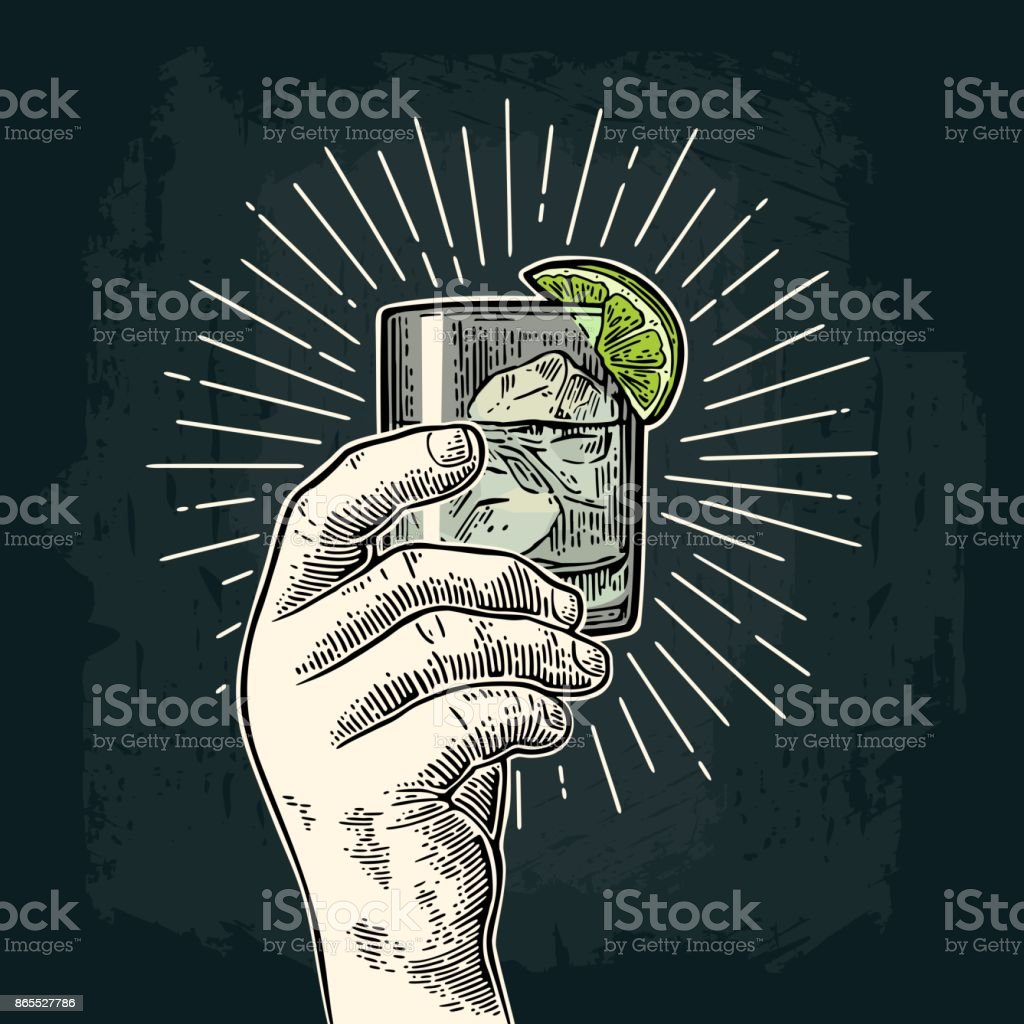 Male hand holding a glass with gin. Vintage vector engraving vector art illustration