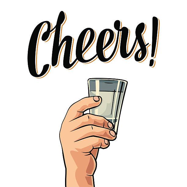male hand holding a glass with vodka. vintage vector engraving - einen toast ausbringen stock-grafiken, -clipart, -cartoons und -symbole