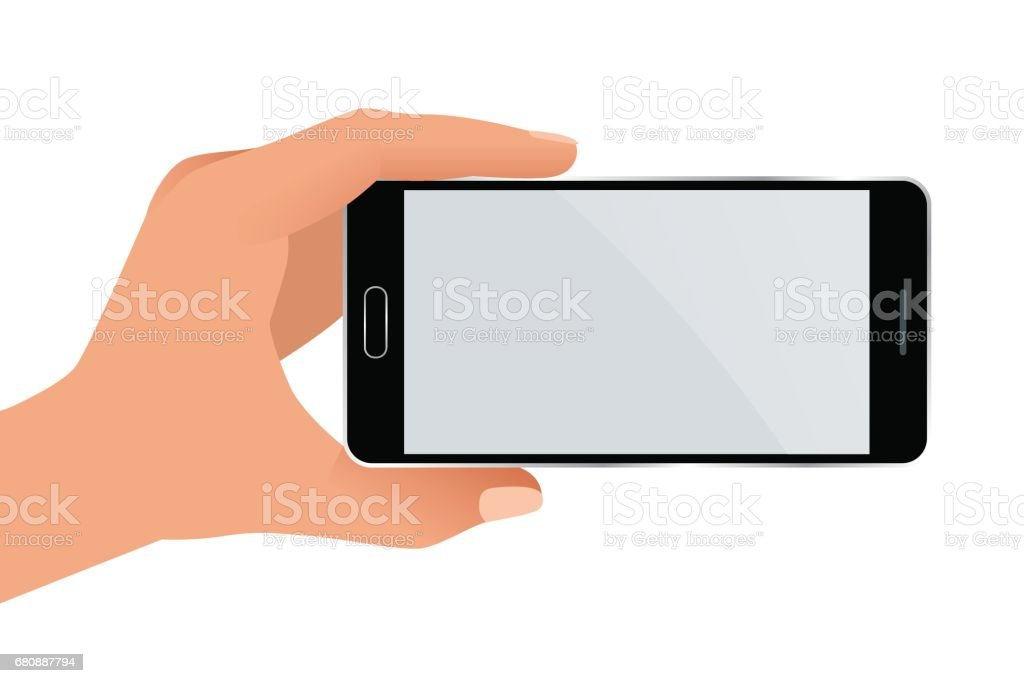Male hand holding a phone with blank screen. Flat Isolated illustration on white background vector art illustration
