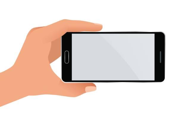 ilustrações de stock, clip art, desenhos animados e ícones de male hand holding a phone with blank screen. flat isolated illustration on white background - segurar