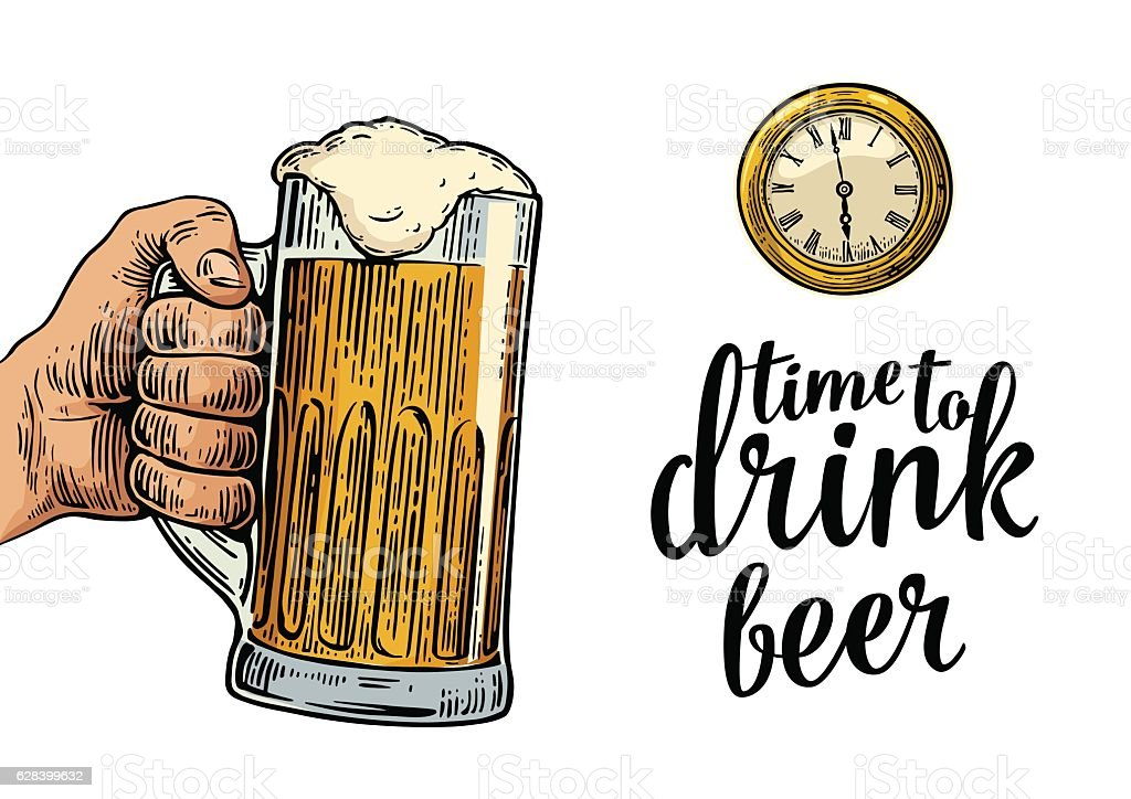 Male hand holding glass beer and antique pocket watch. vector art illustration