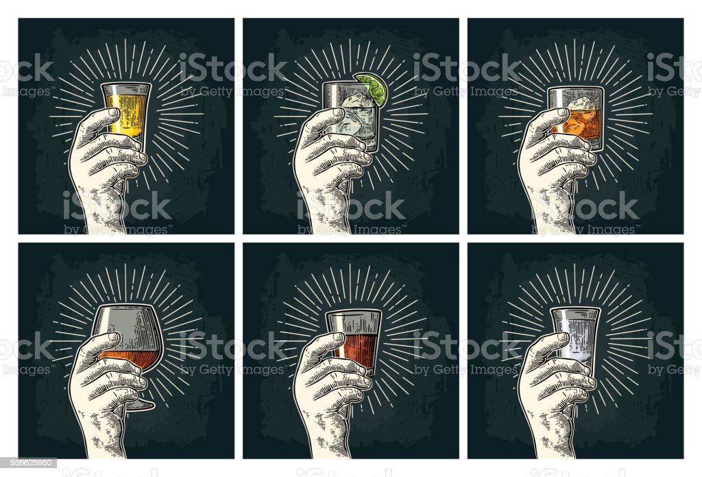 Male hand holding glass brandy, tequila, gin, vodka, rum, whiskey. vector art illustration