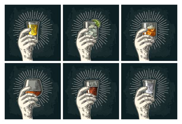 male hand holding glass brandy, tequila, gin, vodka, rum, whiskey. - alcohol drink silhouettes stock illustrations
