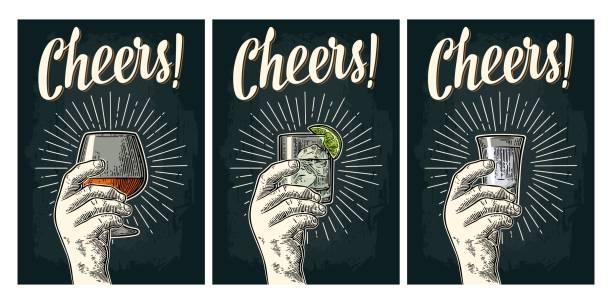 ilustrações, clipart, desenhos animados e ícones de masculino mão segurando o copo de conhaque com ray. letras de caligrafia de saúde - brinde