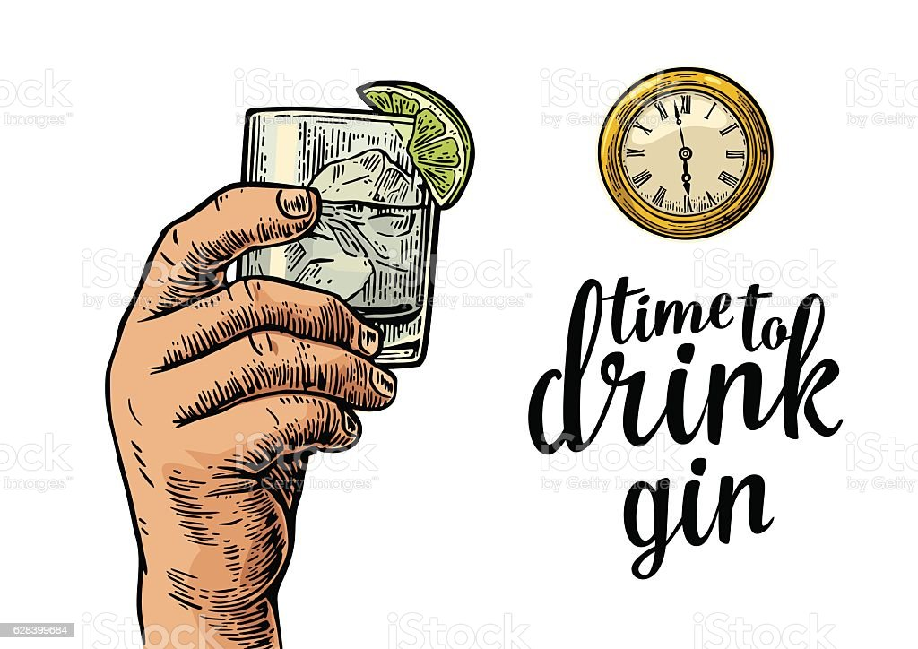 Male hand holding glass gin and antique pocket watch. vector art illustration