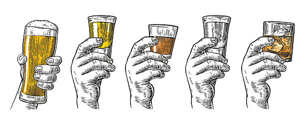ilustraciones, imágenes clip art, dibujos animados e iconos de stock de male hand holding glasses with beer, tequila, vodka, rum, whiskey - alcohol