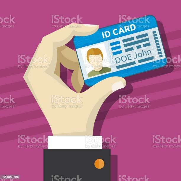 Male hand holding id card with photo vector illustration vector id854052756?b=1&k=6&m=854052756&s=612x612&h=qnkp8wjklzivxnzvnb41negzzhjscyytx9i9j5p81ne=