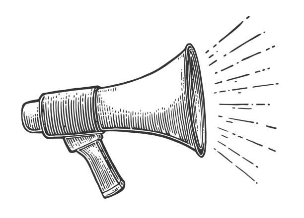 männliche hand holding lautsprecher. - megaphone stock-grafiken, -clipart, -cartoons und -symbole