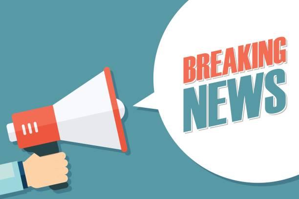 stockillustraties, clipart, cartoons en iconen met mannenhand megafoon met breaking news tekstballon te houden. - journaal presentator