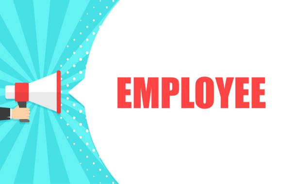 stockillustraties, clipart, cartoons en iconen met mannenhand megafoon met werknemer tekstballon te houden. luidspreker. banner voor business, marketing en reclame. vectorillustratie. - waardering