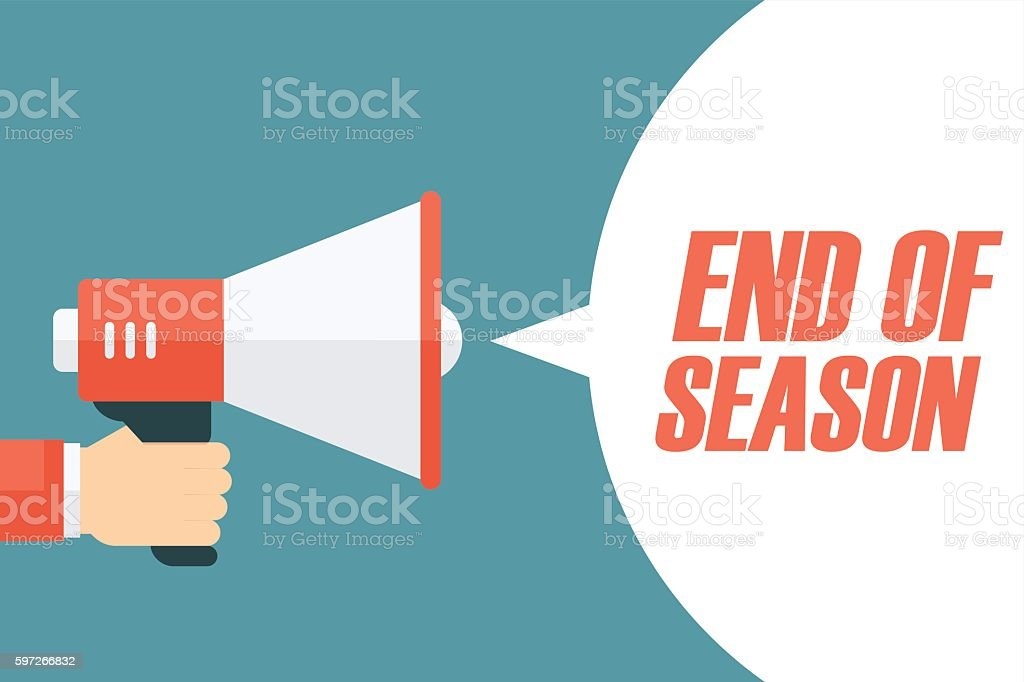 Male hand holding megaphone with End of Season speech bubble. male hand holding megaphone with end of season speech bubble – cliparts vectoriels et plus d'images de adulte libre de droits