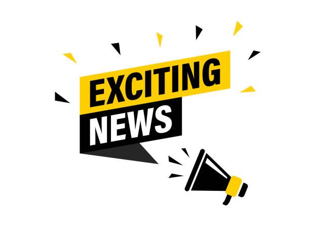 ilustrações, clipart, desenhos animados e ícones de mão masculina que prende o megafone com bolha emocionante do discurso da notícia. altifalante. banner para negócios, marketing e publicidade. ilustração do vetor. - excitação